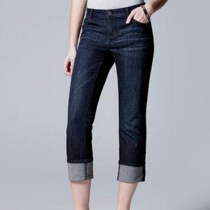 Vera Wang Cuffed Capri Jeans size 2